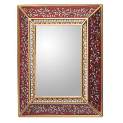 Fair Trade Reverse Painted Glass Mirror