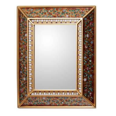 Hand Crafted Floral Glass Mirror