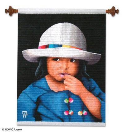 Wool tapestry, 'Girl Thinking' - Wool tapestry