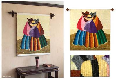 Wool tapestry, 'Women from the Countryside' - Wool tapestry