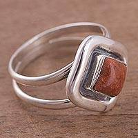 Jasper ring, 'Quadrant Splendor' - Fair Trade Sterling Silver Jasper Ring