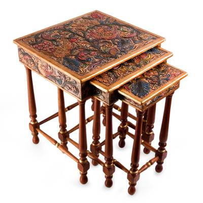 Cedar and leather accent tables, 'Paradise' (set of 3) - Colonial Wood Leather Side Table (Set of 3)