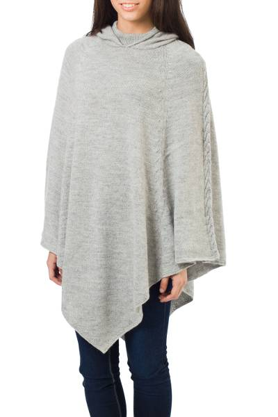 Grey Alpaca Blend Poncho with Hood