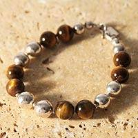 Tiger's eye beaded bracelet, 'Coffee Bean' - Unique Sterling Silver Beaded Tiger's Eye Bracelet