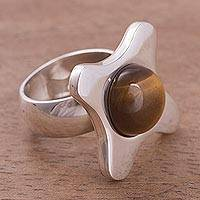 Tiger's eye cocktail ring, 'Coffee Lover' - Tiger's eye cocktail ring