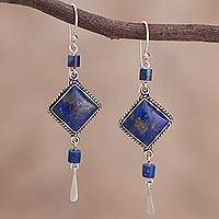Lapis lazuli dangle earrings, 'Legacy' - Lapis Lazuli and Sterling Dangle Handmade Earrings