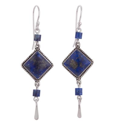 Lapis Lazuli and Sterling Dangle Handmade Earrings