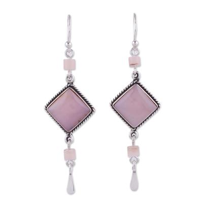Handmade Sterling Silver Dangle Opal Earrings