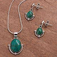 Chrysocolla jewelry set, 'Mystique' - Chrysocolla jewellery set