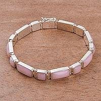 Rose quartz wristband bracelet, 'Sweetheart' - Rose quartz wristband bracelet