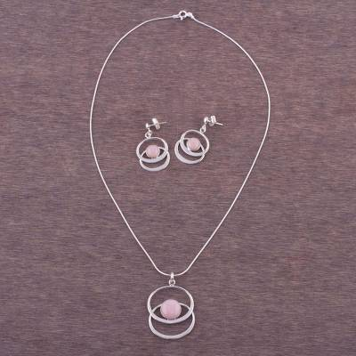 Rose quartz jewelry set, 'Cuddle Me Pink' - Rose quartz jewelry set