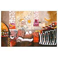 'Funeral of an Inca Nobleman' - Abstract Painting Andean Fine Art