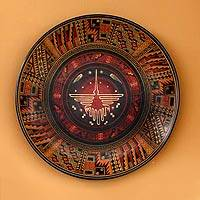 Aged Cuzco plate, 'Hummingbird from Nazca' - Handcrafted Cuzco Ceramic Decorative Plate