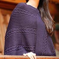 Alpaca blend poncho, 'Double Plum Braids'