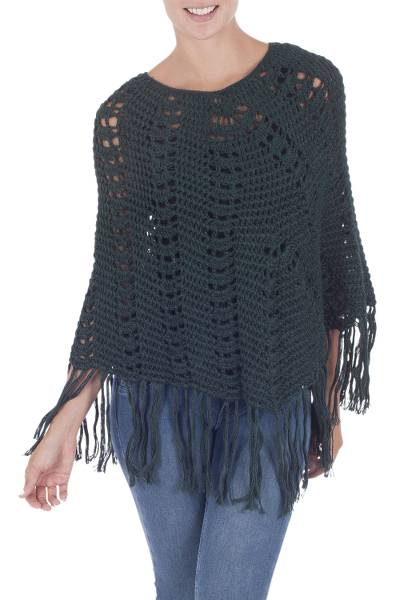 Green Alpaca Wool Poncho