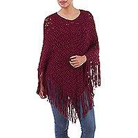 100% alpaca poncho, 'Continents' - Handcrafted Alpaca Wool Crochet Poncho