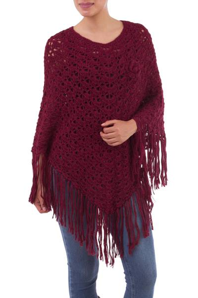 Handcrafted Alpaca Wool Crochet Poncho