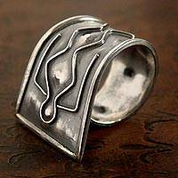 Silver wrap ring, 'Ancestral Message' - Hand Made Modern Fine Silver Wrap Ring from Peru