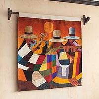 Wool tapestry, 'Three Musicians' - Handcrafted Dance and Music Wool Tapestry