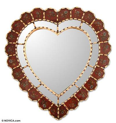 Glass Reverse Painted Heart Wall Mirror