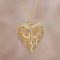 Gold plated filigree necklace and locket, 'Treasured Keepsakes' - Gold plated filigree necklace and locket