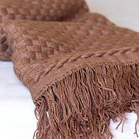 Alpaca throw blanket, 'Camel Checks' (Peru)