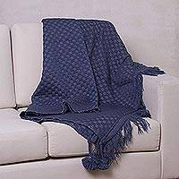 Alpaca blend throw blanket, 'Blue Checks' (Peru)