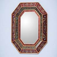 Mirror, 'Radiant Lands' - Unique Reverse Painted Glass Mirror
