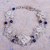 Lapis lazuli flower bracelet, 'Garlands' (Peru)