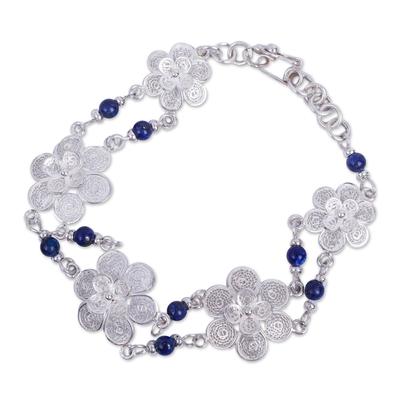Sterling Silver Filigree Lapis Lazuli Bracelet