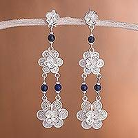 Lapis lazuli chandelier earrings, 'Garlands' - Fair Trade Floral Silver Dangle Lapis Lazuli Earrings