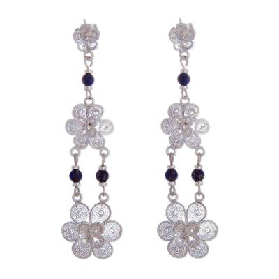 Fair Trade Floral Silver Dangle Lapis Lazuli Earrings