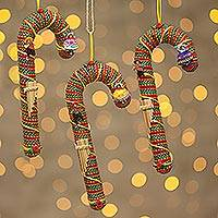 Ornaments, 'Candy Canes' (set of 3) (Peru)