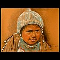 'Boy with Hat' - Peruvian Boy Portrait Original Realist Painting