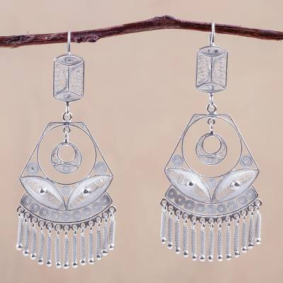 Silver filigree earrings, Spanish Lace