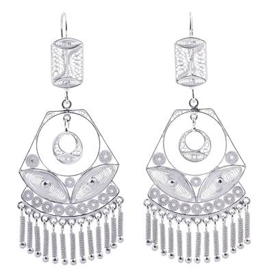 Handcrafted Bridal Sterling Silver Filigree Earrings