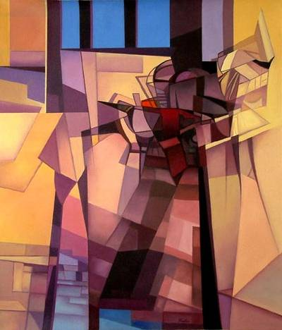 'Ghostly Inhabitants' (2005) - Architectural Cubist Painting (2005)