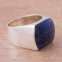 Sodalite domed ring, 'Clarity' - Sodalite domed ring