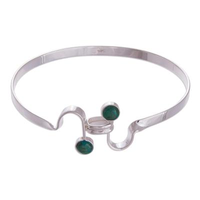 Chrysocolla bangle bracelet
