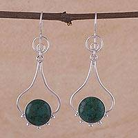 Chrysocolla dangle earrings, 'Andean Moon' - Chrysocolla and Silver Dangle Earrings