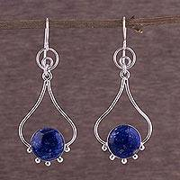 Lapis lazuli dangle earrings, 'Andean Moon' - Lapis Lazuli and Silver Earrings