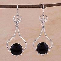 Onyx dangle earrings, 'Andean Moon' - Handmade Sterling Silver Dangle Onyx Earrings