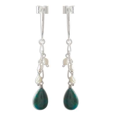 Chrysocolla and Pearl Earrings Sterling Silver 925