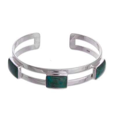 Handmade Chrysocolla and Sterling Silver Minimalist Cuff Bracelet