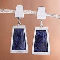 Sodalite dangle earrings, 'Gate to the Sky' - Sodalite dangle earrings