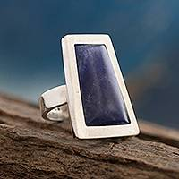 Sodalite cocktail ring, 'Gate to the Sky' - Unique Peruvian Silver and Sodalite Cocktail Ring