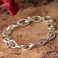 Men's silver link bracelet, 'Canoe' - Men's Fine Silver Link Bracelet