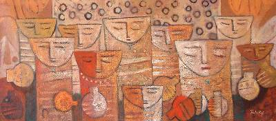 'Earthenware Jars' - Expressionist Painting