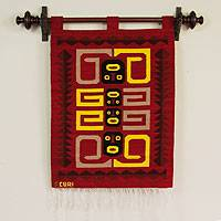 Wool tapestry, 'Temple Guardians' - Wool tapestry
