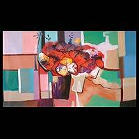 'Floral Bouquet' - Peruvian Still Life Cubist Painting